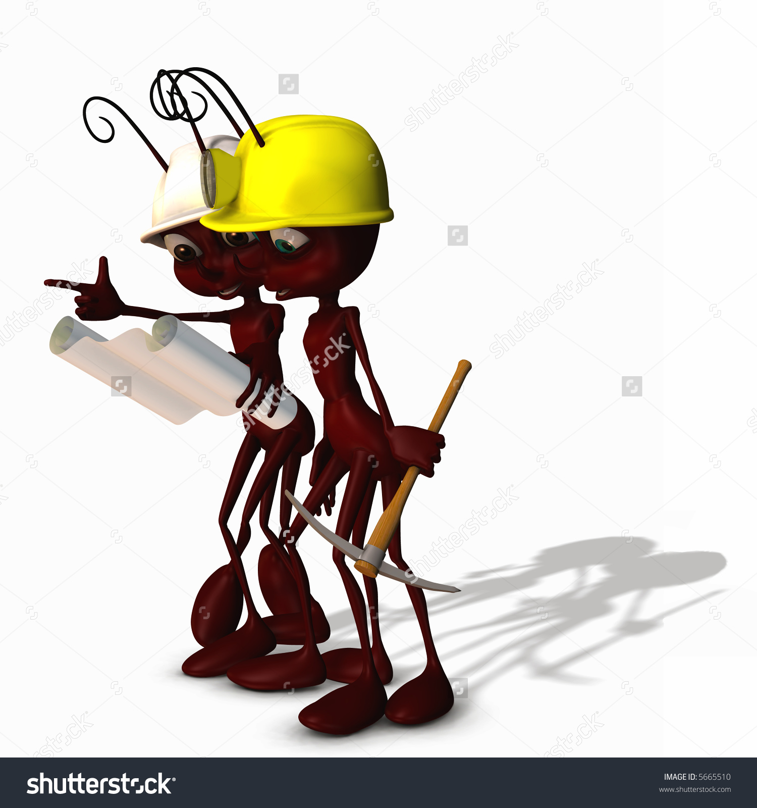 Worker Ant Wearing Construction Hat Light Stock Illustration.