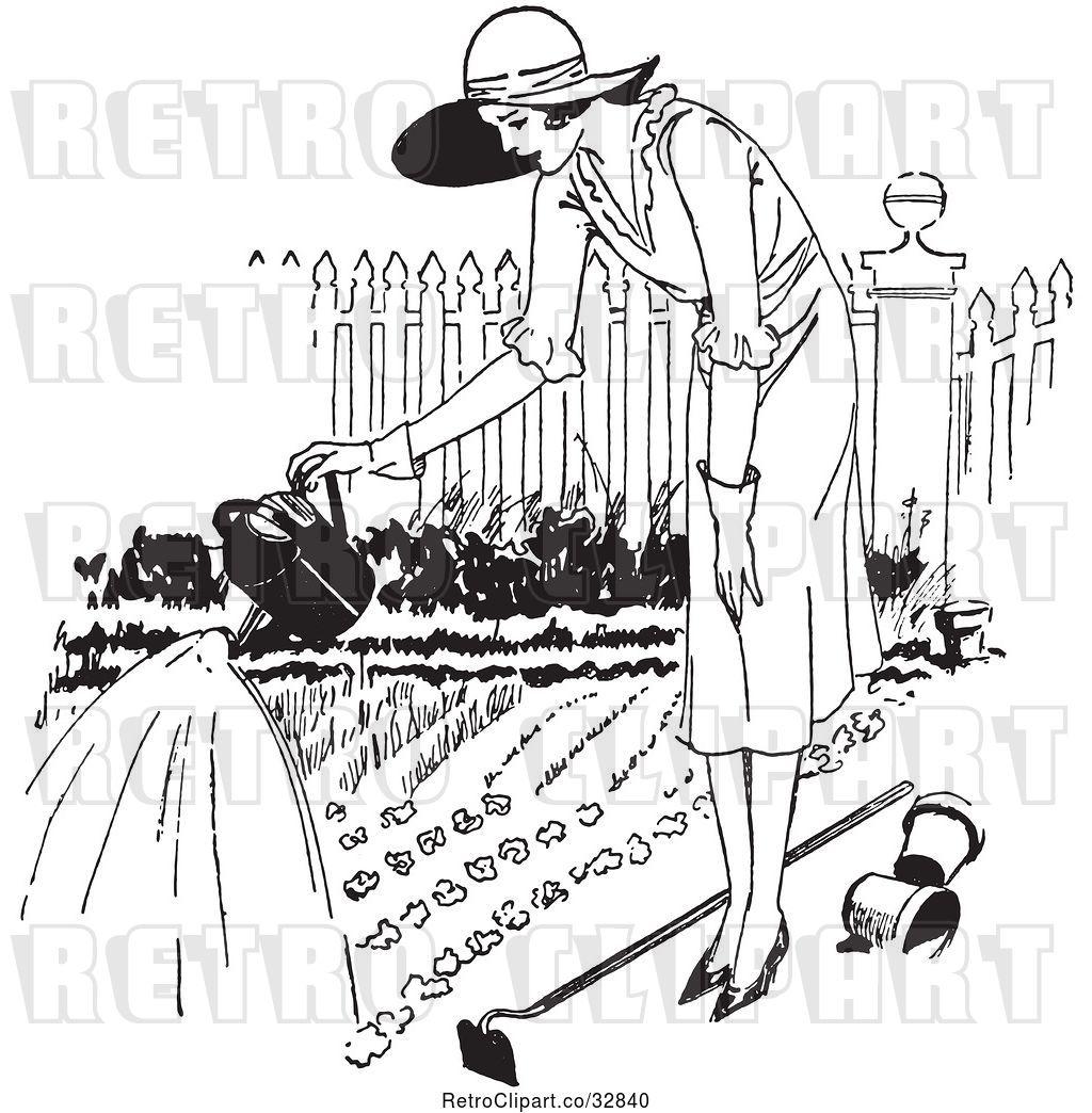 Vector Clip Art of Retro Lady Watering a Garden by Picsburg.