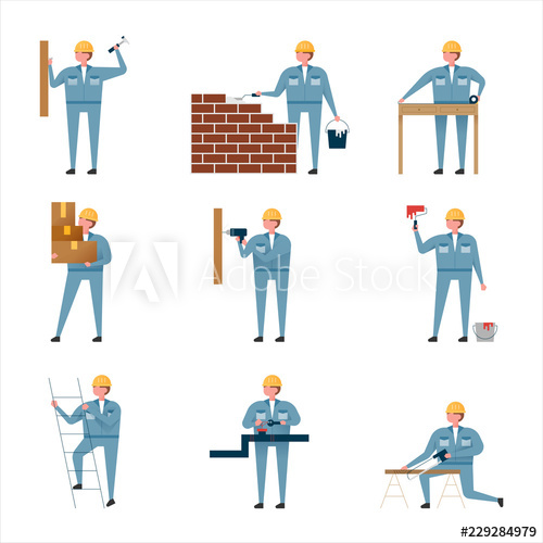 Various work character set of construction worker. flat.