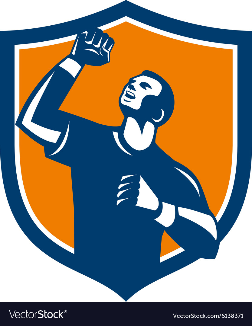 Athlete Fist Pump Crest Retro.