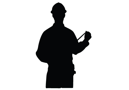 Construction worker silhouette clipart.