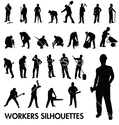 Workers silhouettes vector by kamphi.
