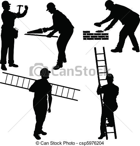Vector Clip Art of Group of workers silhouettes csp5772431.