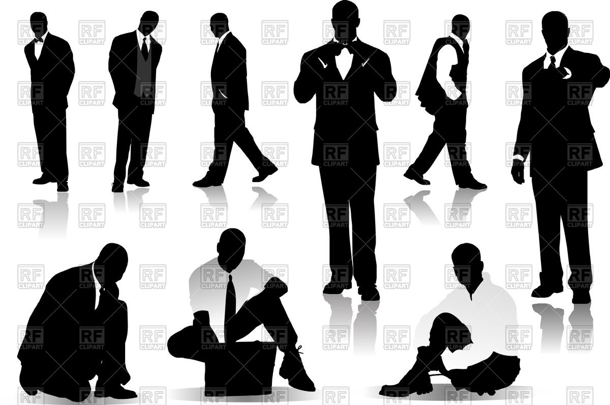 Businessmen and office workers silhouettes Vector Image #52933.
