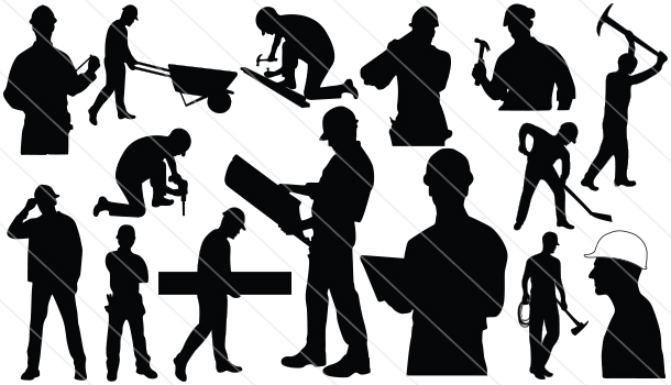 Construction Workers Silhouette Vector (15).