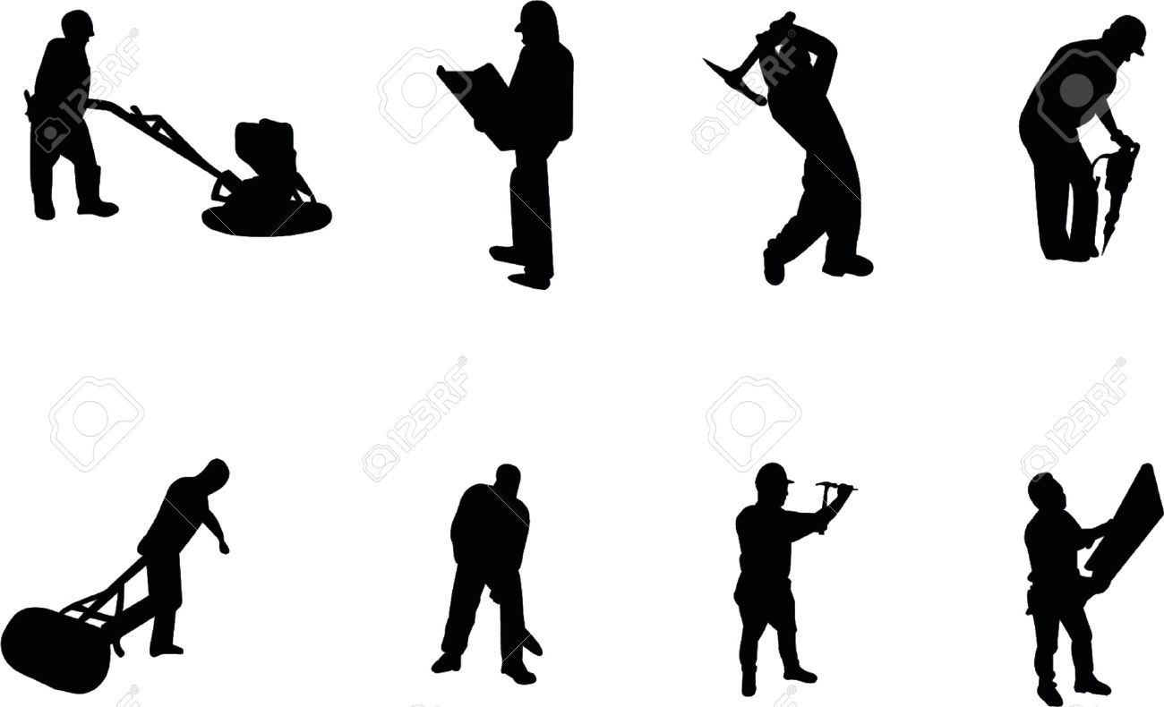 Construction Worker Silhouettes Royalty Free Cliparts, Vectors.