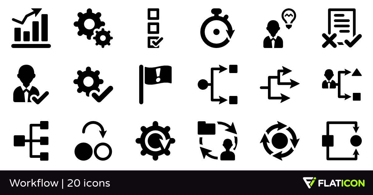 Workflow 20 free icons (SVG, EPS, PSD, PNG files).