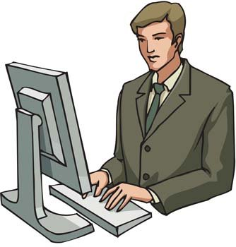 Businessman working his report Clipart Picture Free Download.