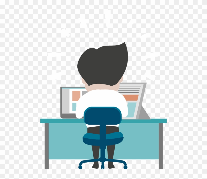 Cartoon Man Working At Desk Clipart (#1178395).