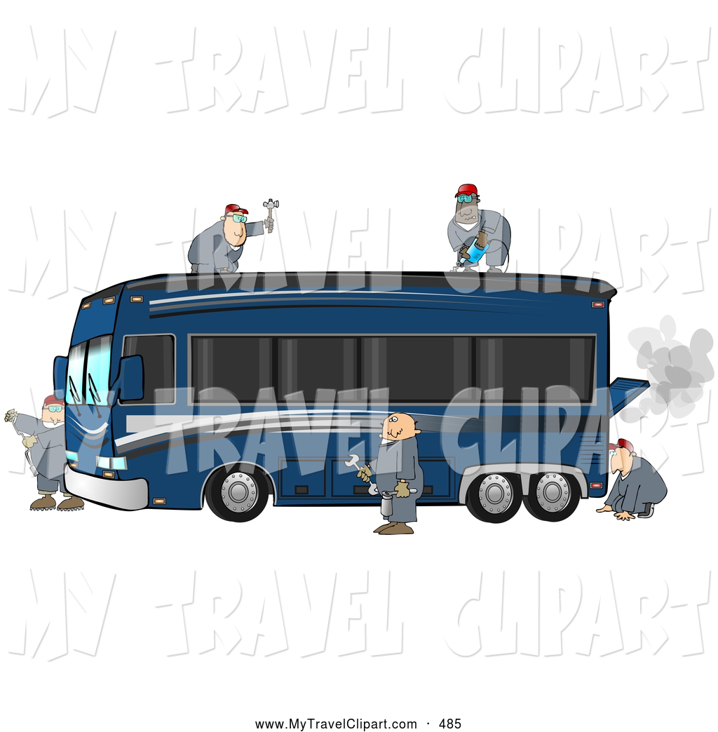 Clipart of 5 Experienced Male Mechanics Working Together to.