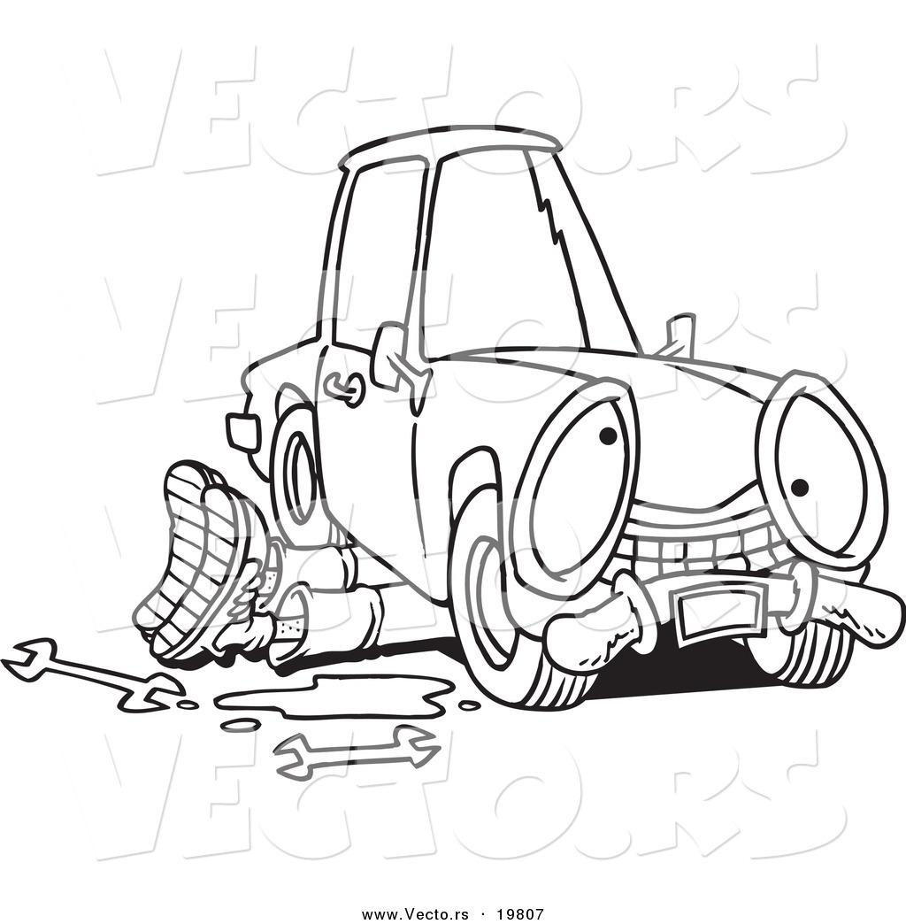 Vector of a Cartoon Mechanic Working Under a Car.