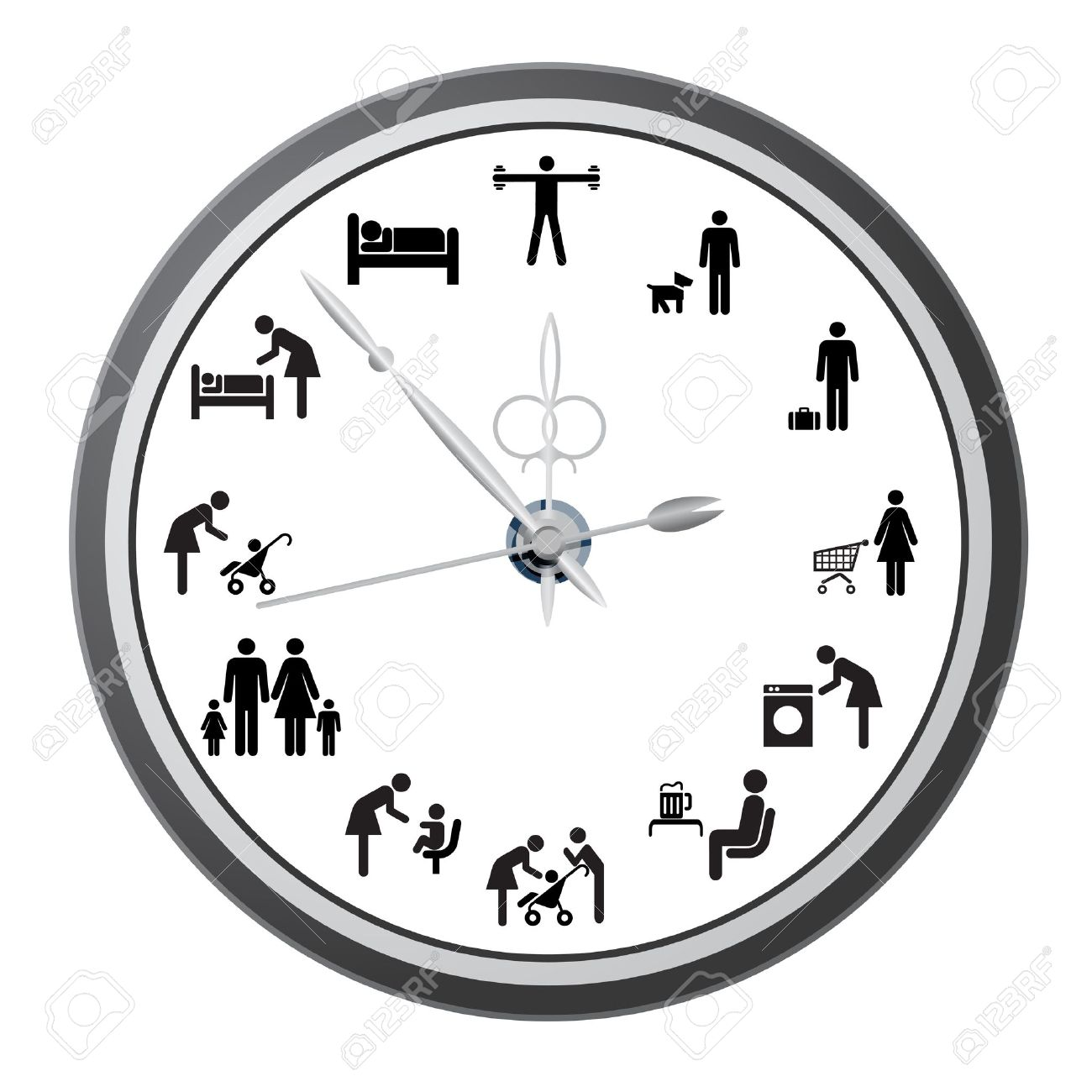 Clock Of Icons Of People, The Concept Of The Working Day Vector.