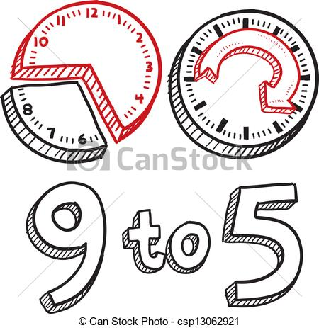 Vector Illustration of 9 to 5 work day sketch.
