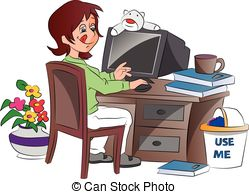 Clipart Vector of Young Woman Working from Home, illustration.