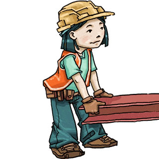 Woman working hard clipart.