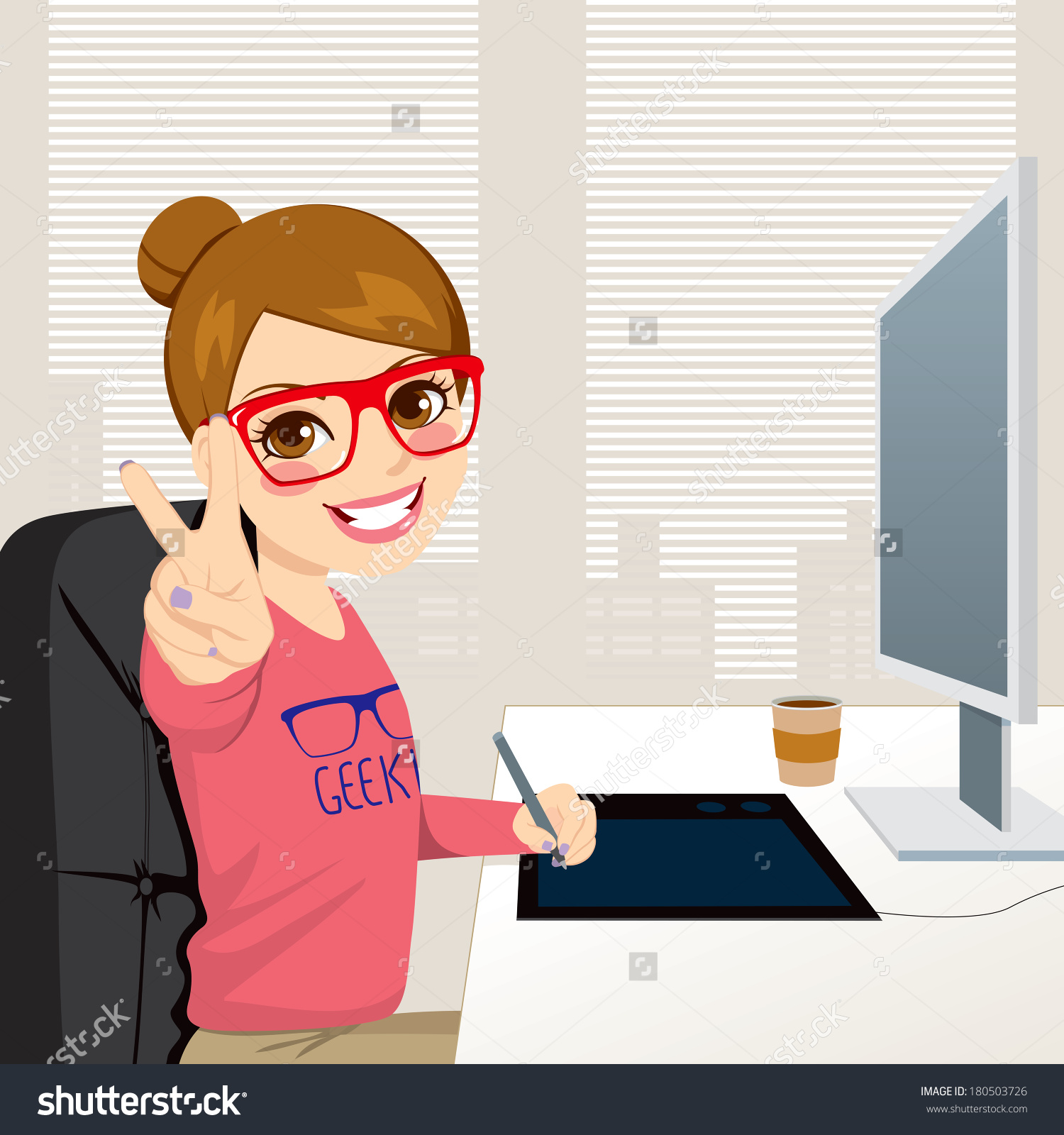 Girl working clipart.