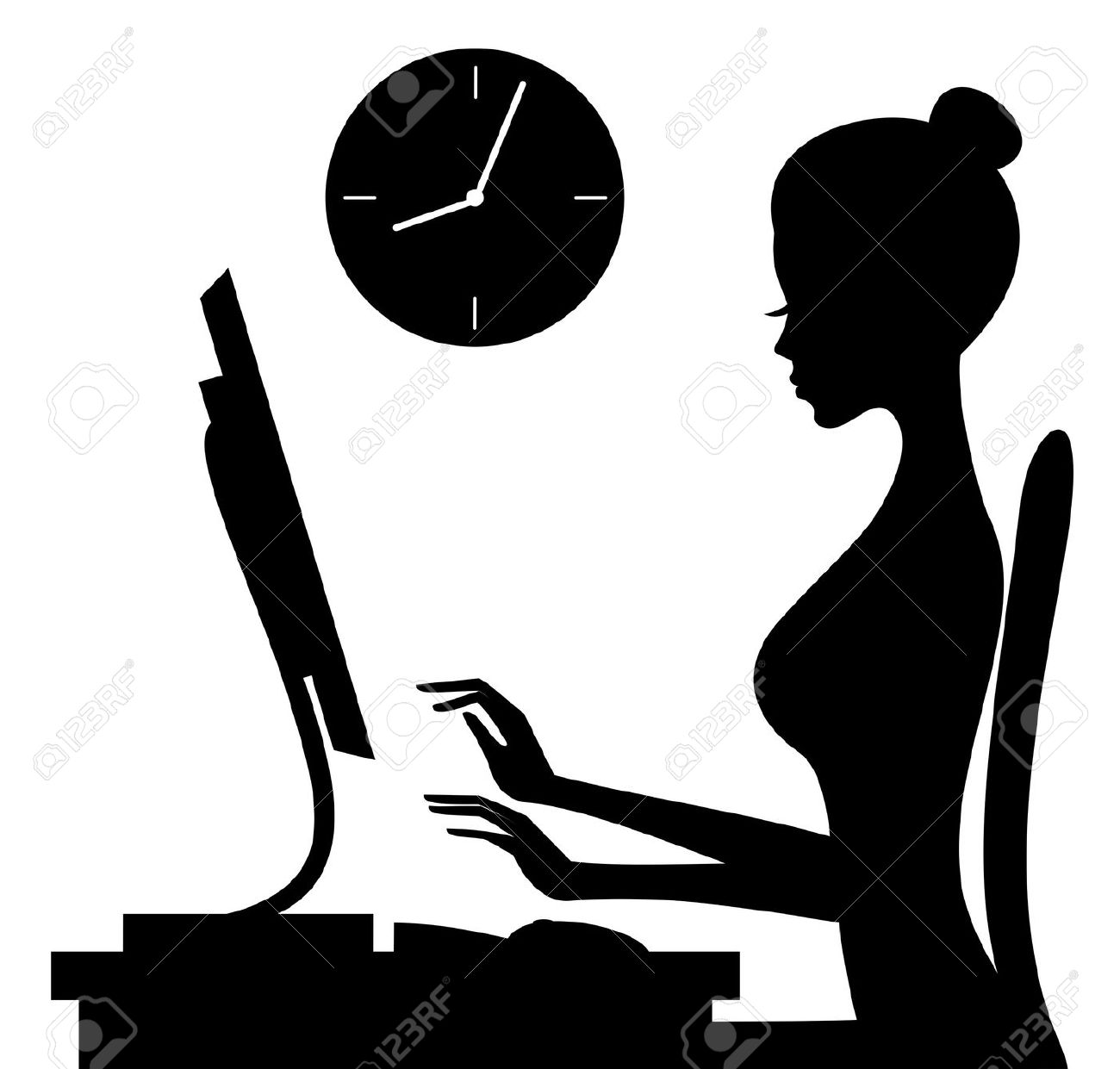 Clipart woman working at computer.