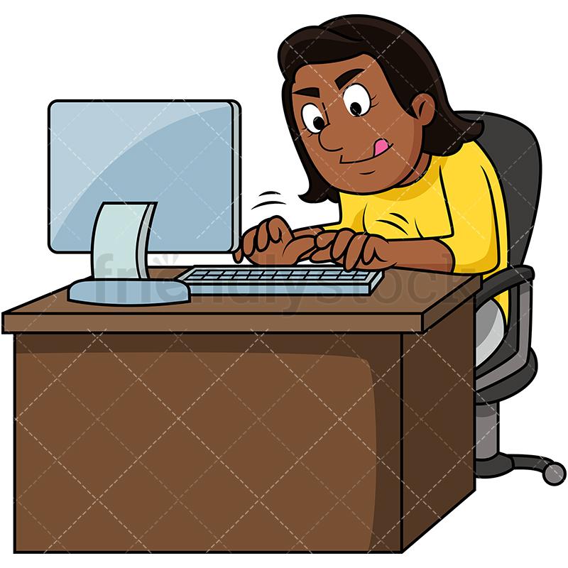 Black Woman Working Hard On Computer.