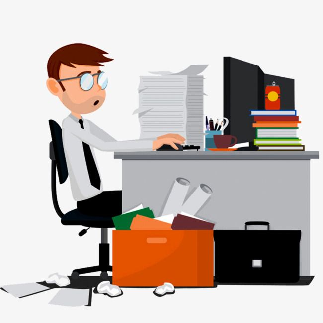 Office Desk, Office Clipart, Hand Painted Office Desk, The Desk PNG.
