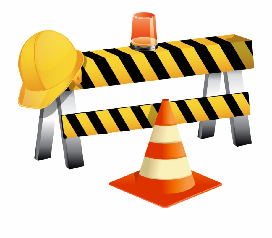 Clip Art Vector Flagger Working On Road Construction.