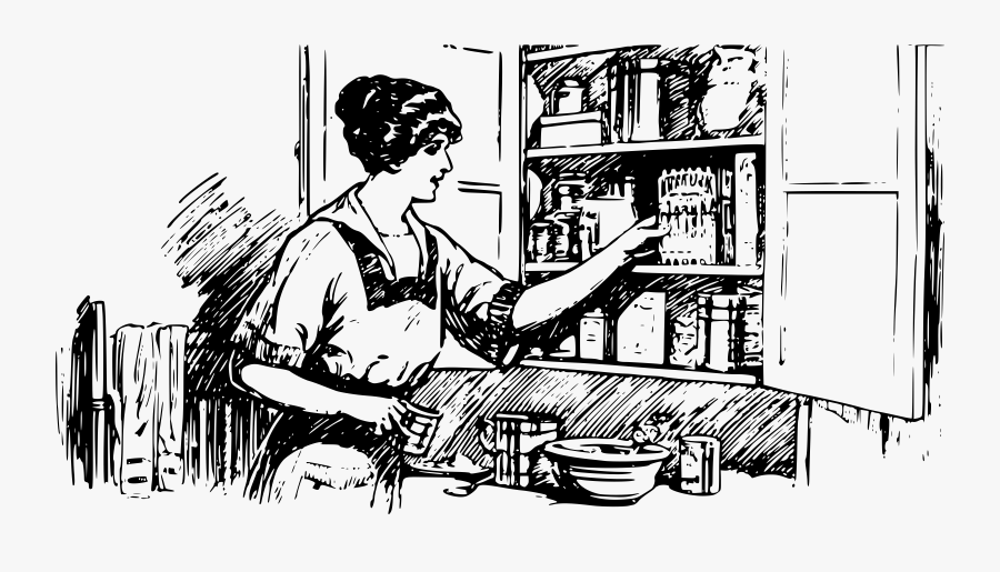 Mother Working In Kitchen Drawing , Free Transparent Clipart.