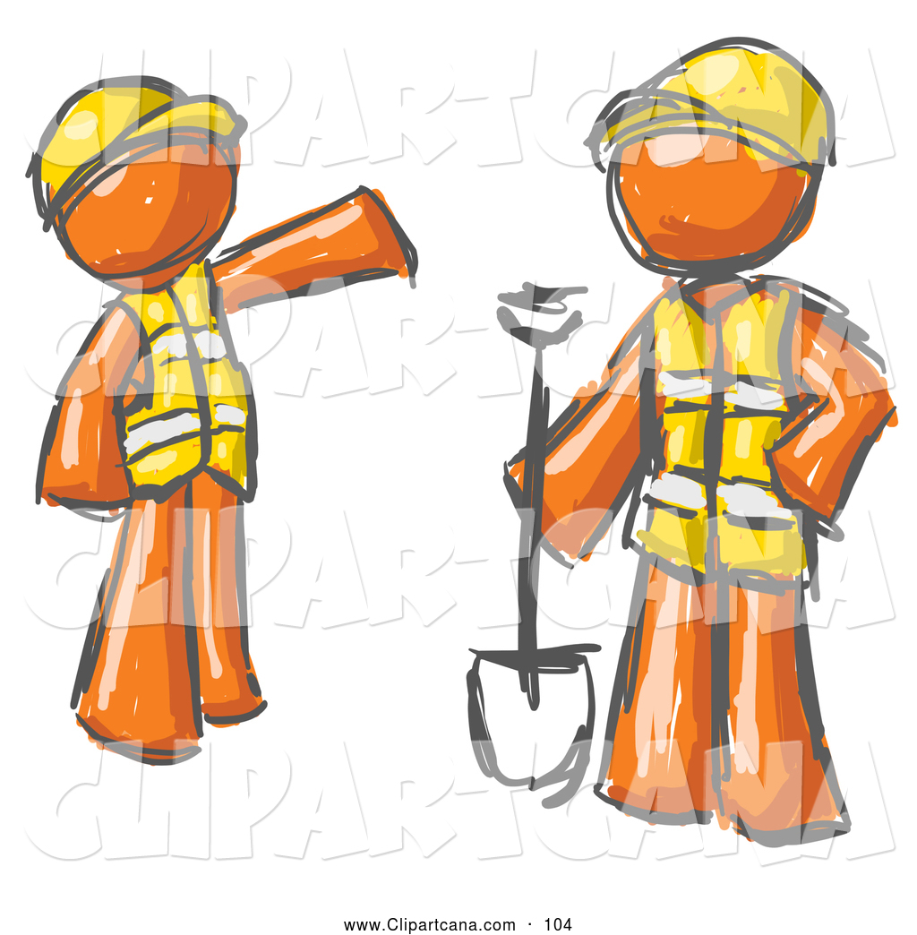 Clip Art of a Pair of Painted Orange Men in Hardhats and Vests.