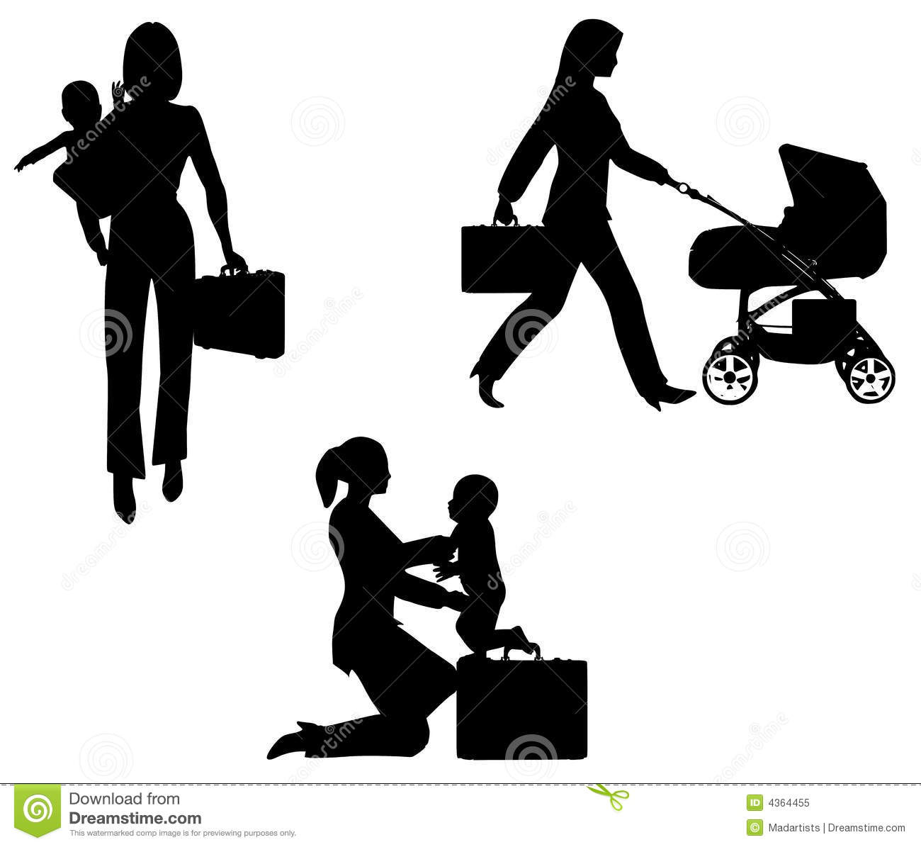 Working Mother And Child Clipart.