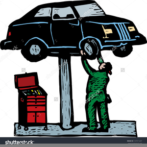 Clipart Mechanic Working On Car.