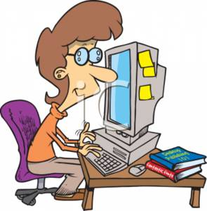 Clipart of a Businesswoman Working at Her Computer.