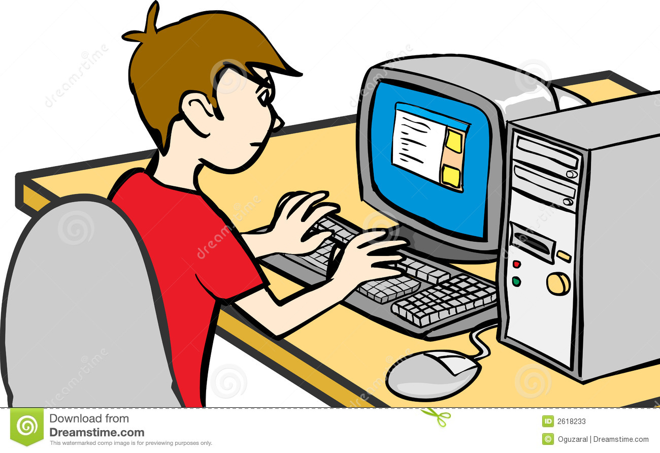 Kid On Computer Clipart.