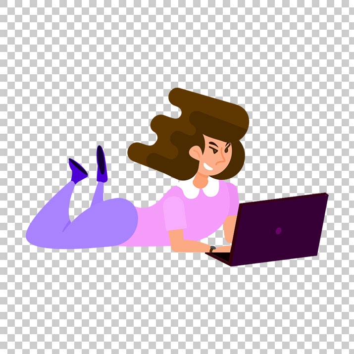 Women Working on Laptop Clipart PNG Image Free Download.
