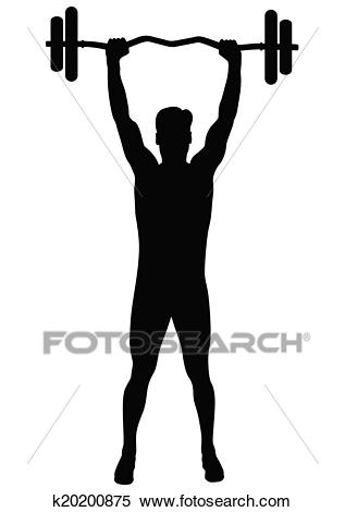 Man working out fitness Clipart.