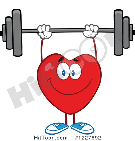Heart Clipart #1227692: Heart Character Working out with a Barbell.