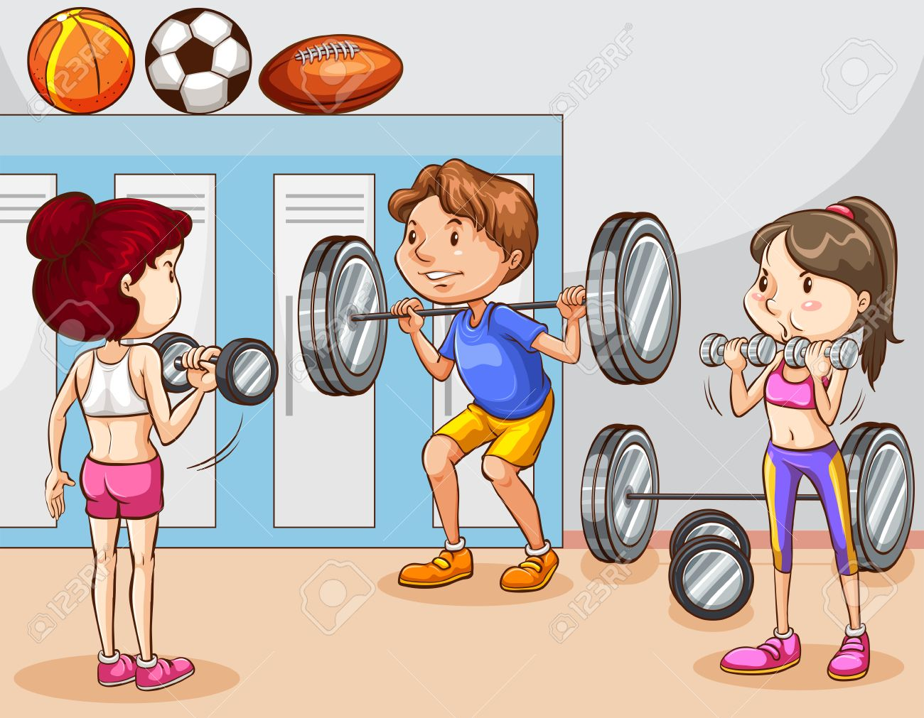 People working out in gym illustration.