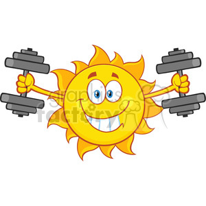 smiling sun cartoon mascot character working out with dumbbells vector  illustration isolated on white background clipart. Royalty.