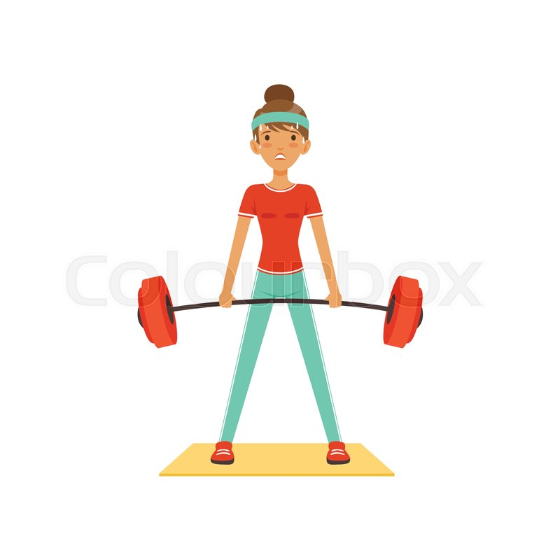Sportive young woman character lifting barbell, girl working.