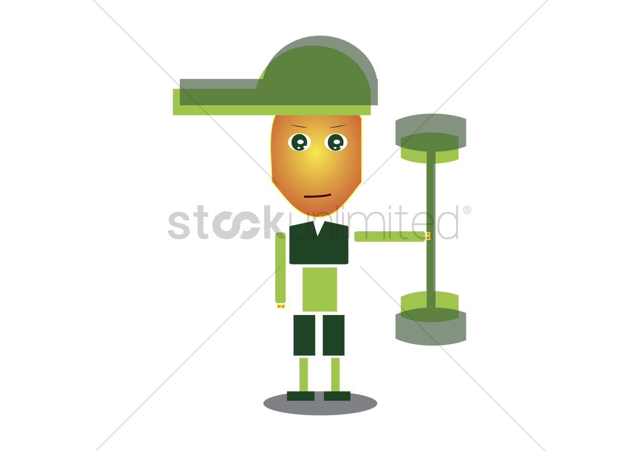 Free Boy with green cap working out Vector Image.