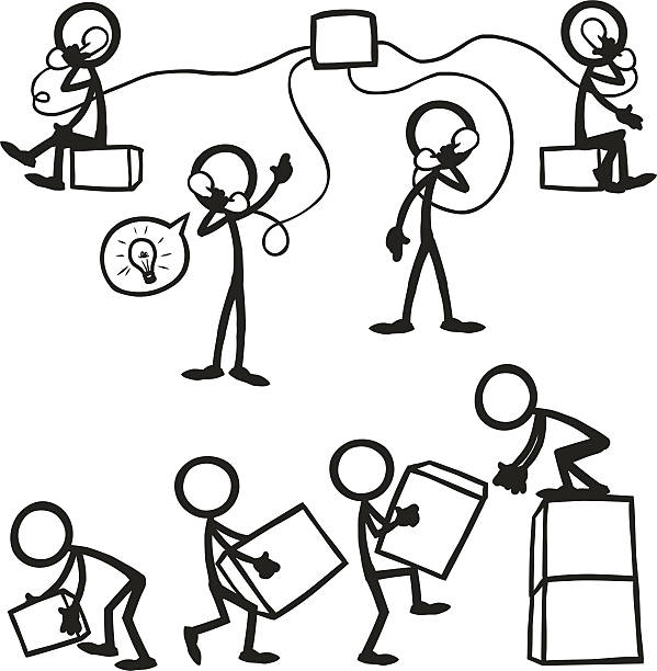 Stick Figure People Business Working Together Clip Art, Vector.