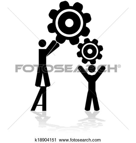 Clipart of Team working together k18904151.