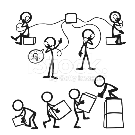 Stick Figure People Business Working Together royalty.