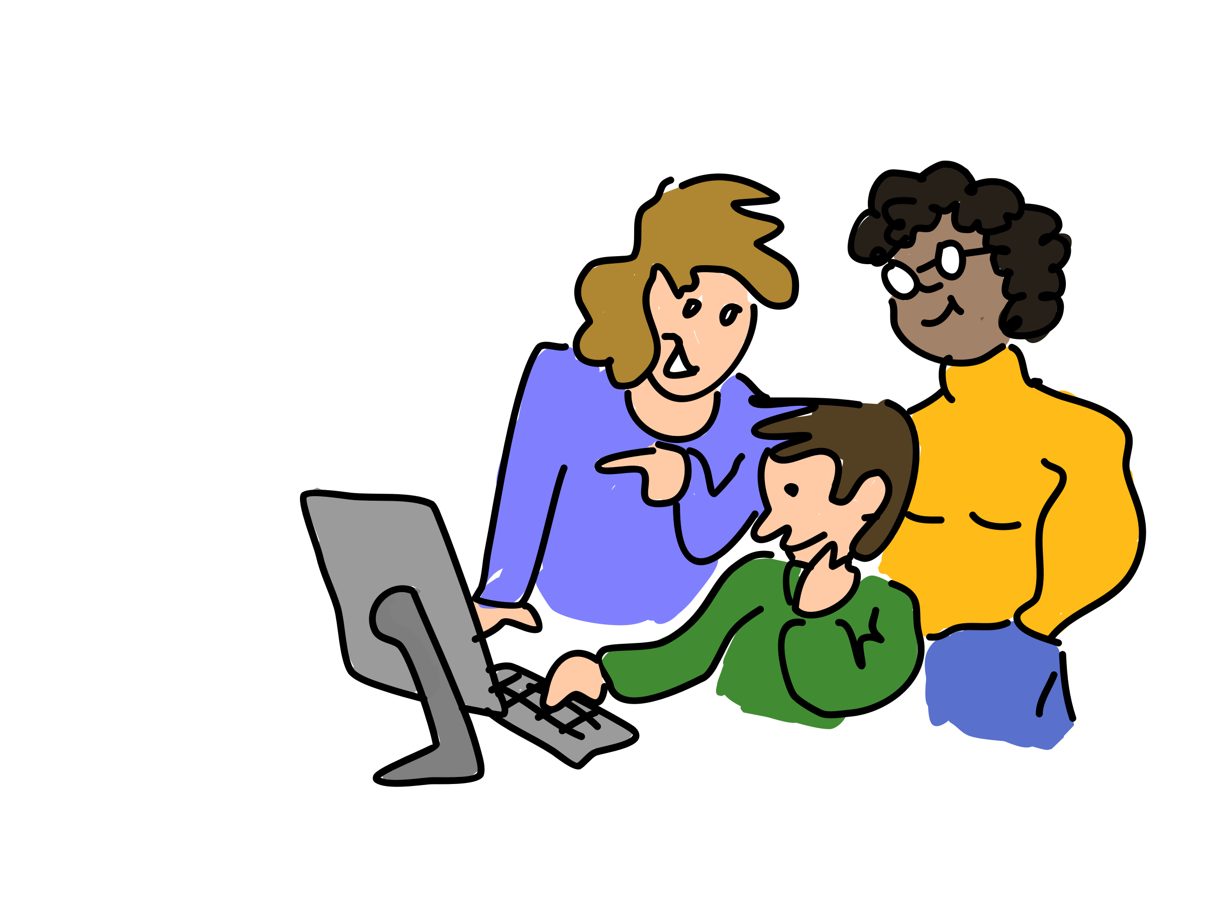 Three people working together vector clipart image.