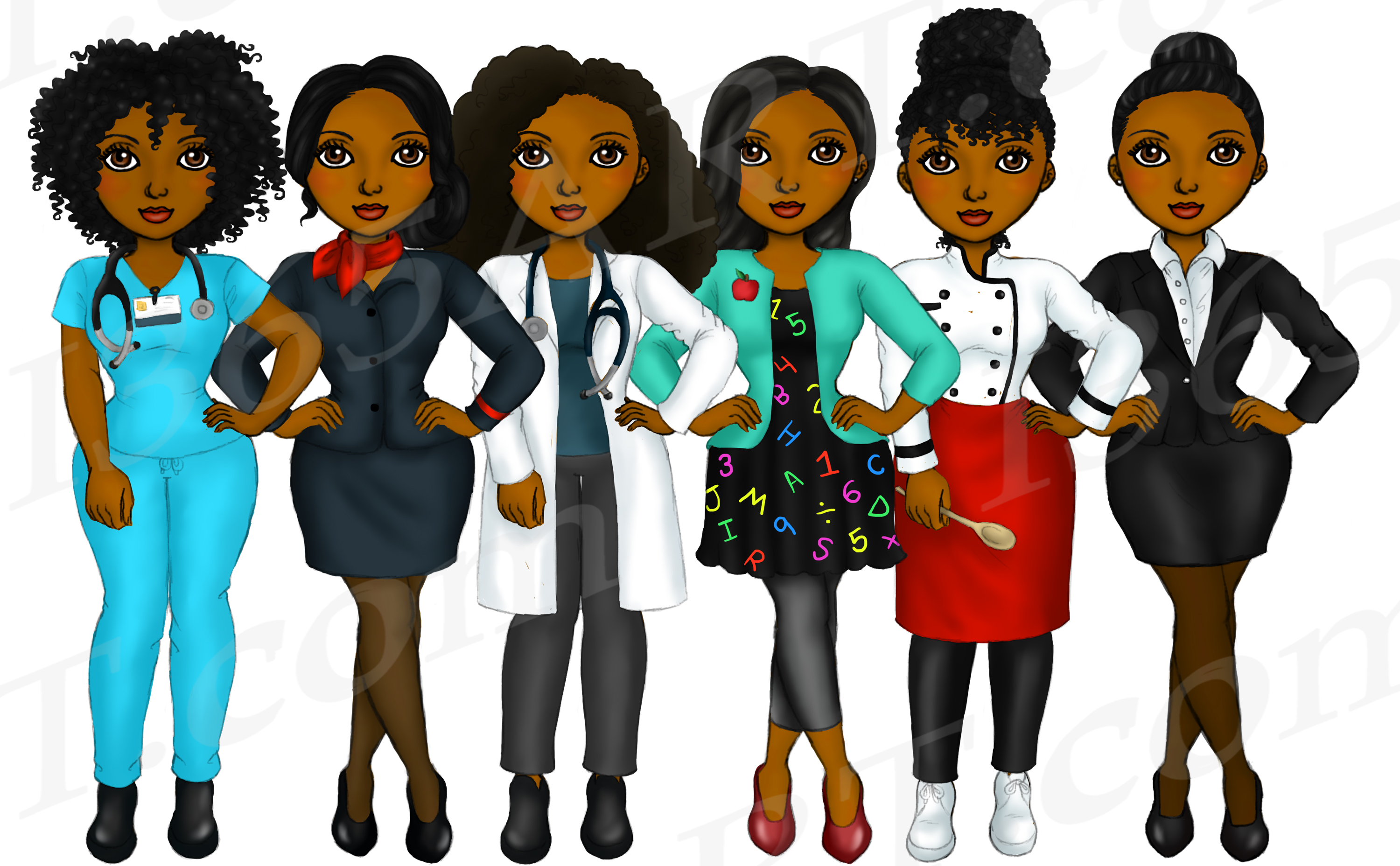 Girls At Work Fashion Clipart, Girl Boss, Natural Hair Girls.