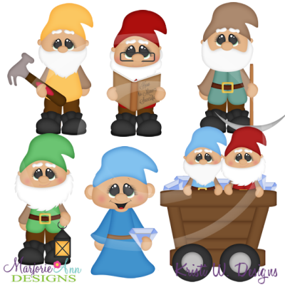 Working Dwarfs SVG Cutting Files Includes Clipart.