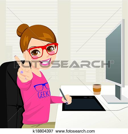 Clip Art of Hipster Graphic Designer Woman Working k18804397.