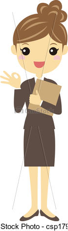 Clip Art Vector of A working woman in business suite.