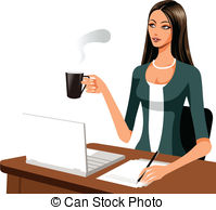 Woman Working Clipart.