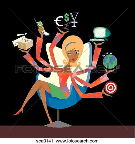 Clipart of working woman sca0141.
