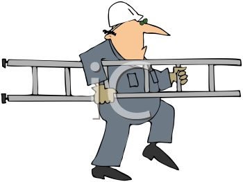 Royalty Free Clip Art Image: Cartoon of a Workman Carrying a Ladder.