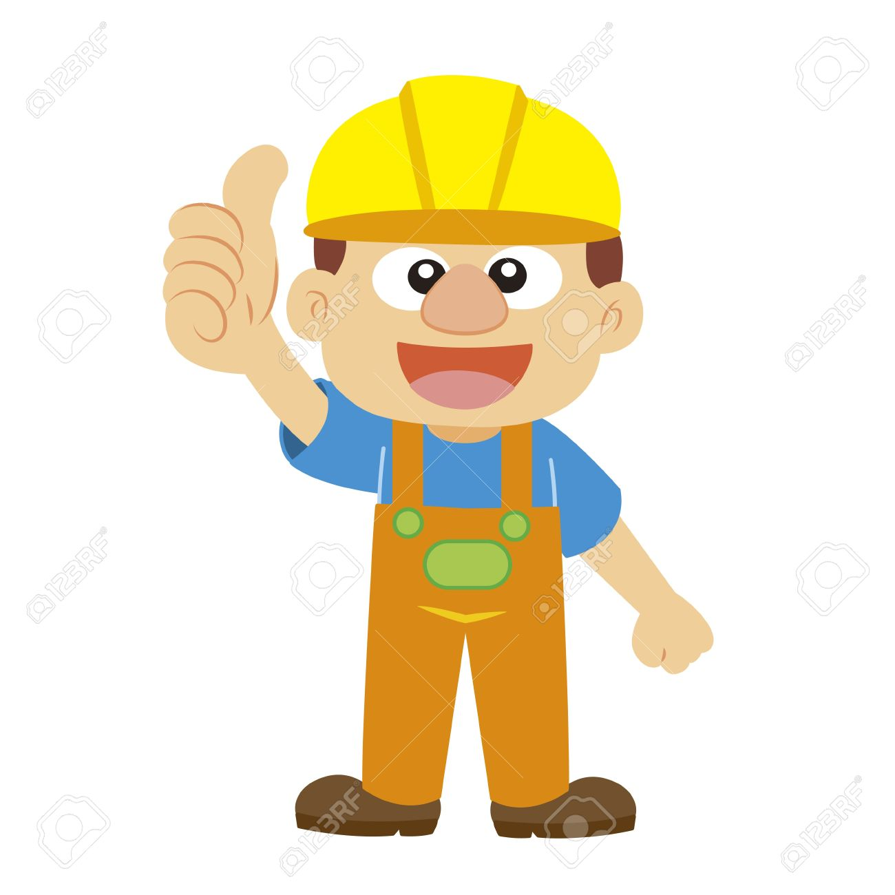 A Builder In Yellow Helmet Thumbs Up Royalty Free Cliparts.