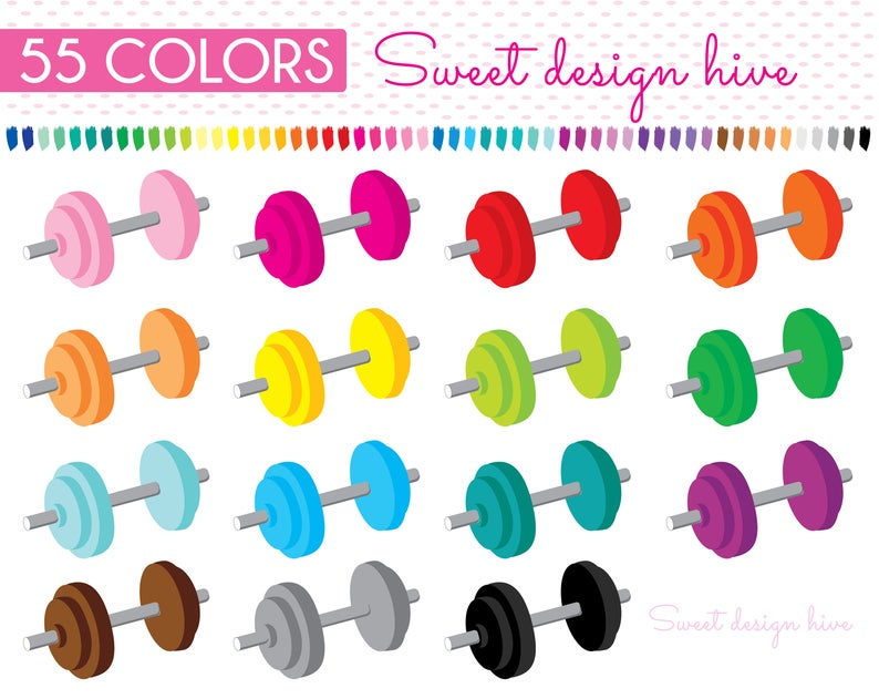 Dumbbell Clipart, Weights Fitness Clipart, Gym Clipart, Sports Clipart,  Workout Clipart, Gym equipment, fitness, Planner Stickers, PL0088.